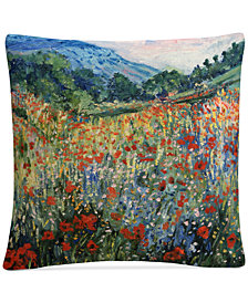 "Masters Fine Art Field of Wild Flowers 16"" x 16"" Decorative Throw Pillow"
