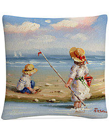 "Rosa At the Beach III 16"" x 16"" Decorative Throw Pillow"