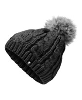 7ecdf3968d2f2 The North Face Big Girls Cable-Knit Hat with Faux-Fur Pom-Pom
