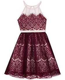 Rare Editions Big Girls Illusion-Neck Lace Dress