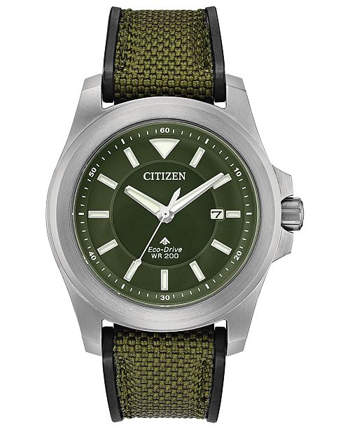 Eco Drive Men S Promaster Tough Military Green Fabric Strap Watch 42mm