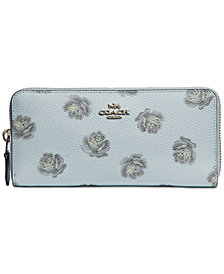 COACH Rose Print Slim Accordion Wallet