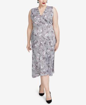 RACHEL RACHEL ROY Trendy Plus Size Printed Giles Dress in Grey Combo