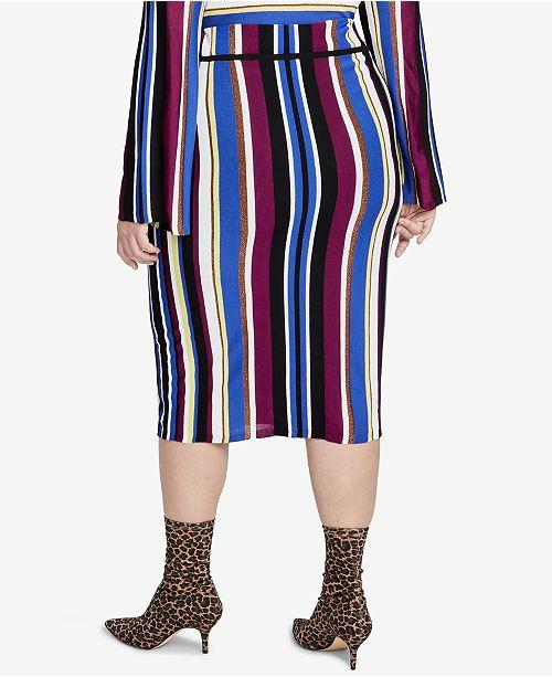 5cac04a751 RACHEL Rachel Roy Trendy Plus Size Royal Stripe Pencil Skirt ...
