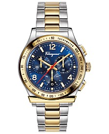Ferragamo Men's Swiss Chronograph 1898 Two-Tone Stainless Steel Bracelet Watch 42mm