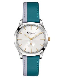 Ferragamo Women's Swiss Slim Formal Teal & Lilac Leather Strap Watch 35mm