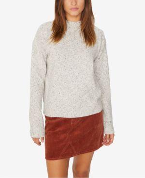 Jasper Button Detail Mock Neck Sweater, Heather Sterling
