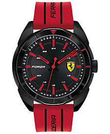 Ferrari Men's Forza Red Silicone Strap Watch 45mm