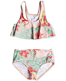 Roxy Little Girls 2-Pc. Floral-Print Bikini