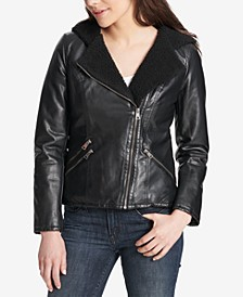Women's Faux-Leather Hooded Moto Jacket