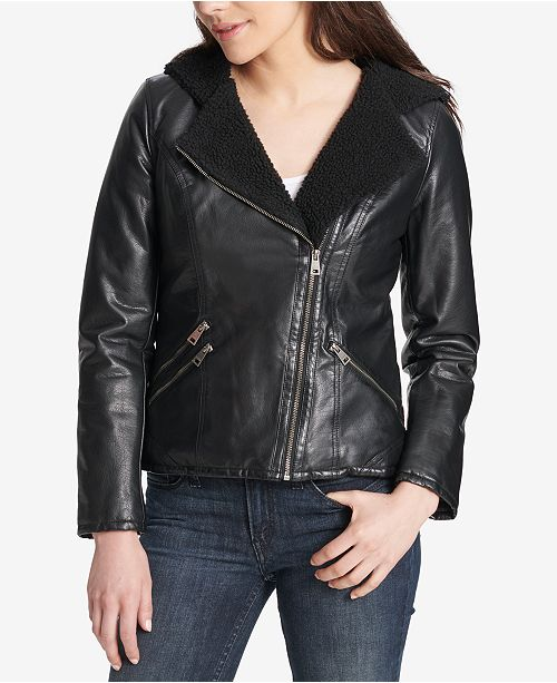 bc6c29ef Levi's Faux-Leather Hooded Moto Jacket & Reviews - Coats - Women ...
