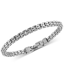 Esquire Men's Jewelry Double Box Link Bracelet in Sterling Silver, Created for Macy's