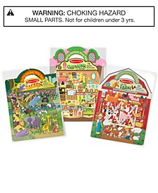 Melissa & Doug Puffy Sticker Activity Book Farm, Safari & Chipmunk Bundle