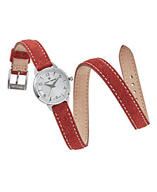 Lucky Brand Women's Torrey Mini Rust Suede Leather Wrap Strap Watch 28mm