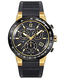 Ferragamo Men's Swiss Chronograph F-80 Black Caoutchouc Strap Watch 44mm