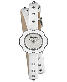 Ferragamo Women's Swiss Fiore White Leather Wrap Strap Watch 24mm