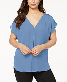 I.N.C. Plus Size Mixed-Media Dolman-Sleeve Top, Created for Macy's