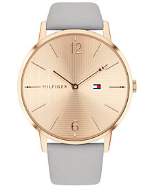 Tommy Hilfiger Women's Gray Leather Strap Watch 40mm, Created for Macy's
