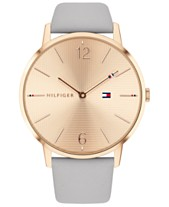 f0d6a898461e Tommy Hilfiger Women s Gray Leather Strap Watch 40mm