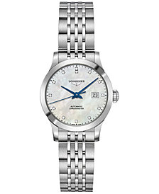 Longines Women's Swiss Automatic Record Collection Diamond-Accent Stainless Steel Bracelet Watch 30mm