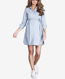 Seraphine Maternity Belted Cotton Shirtdress