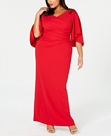 Plus Size Embellished Draped Gown