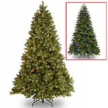 "National Tree 7 .5' ""Feel Real"" Down Swept Douglas Fir Hinged Tree with 750 Low Voltage Dual LED Lights"