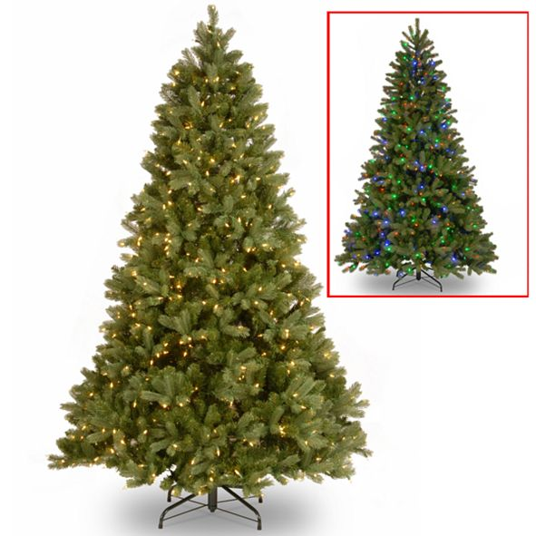 """National Tree Company National Tree 7 .5' """"Feel Real"""" Down Swept Douglas Fir Hinged Tree with 750 Low Voltage Dual LED Lights"""
