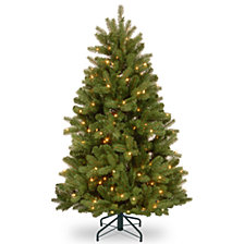 National Tree 4 .5' Feel Real  Newberry ™  Spruce Hinged Tree with 450 Dual Color  LED Lights