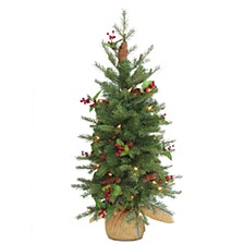 3' Feel Real(R) Nordic Spruce Small Tree with Cones & Red Berries in Burlap with 100 Warm White LED Lights wandTimer