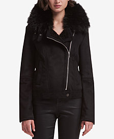 DKNY Faux-Fur-Trim Moto Jacket, Created for Macy's