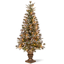 "National Tree 4' ""Feel Real"" Liberty Pine Entrance Tree with Snow and Pine Cones in a Dark Bronze Plastic Pot with 100 Clear Lights"