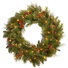 "National Tree 30"" Decorative Collection Noble Mixed Wreath with Red Berries, Cones and 50 Soft White LED Battery Opreated Lights"
