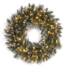"National Tree Company 24"" Glittery Bristle Pine Wreath with 50 Soft White C7 LED Lights"