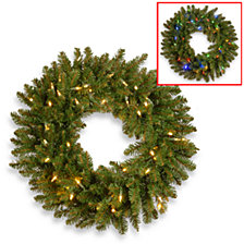 """National Tree Company 30"""" Kingswood Fir Wreath with 100 Dual Color(R) Battery Operated LED Lights w/Timer- BAT-9 Functions-Reshippable Inner Box"""