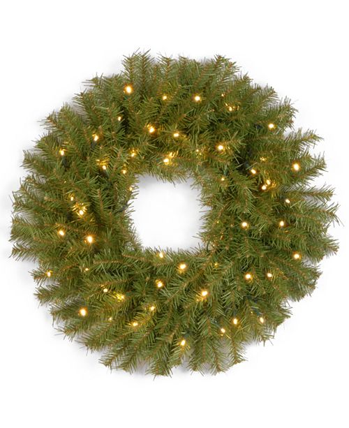 "National Tree Company 30"" Norwood Fir Wreath with 100 Battery Operated LED Lights"