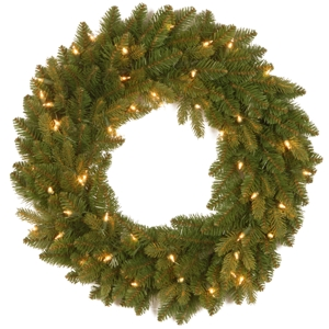 """National Tree 24"""" """"Feel Real"""" Avalon Spruce Wreath with 50 Clear Lights"""