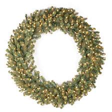 "National Tree Company 48"" ""Feel-Real"" Downswept Douglas Fir Wreath with 200 Warm White LED Lights"