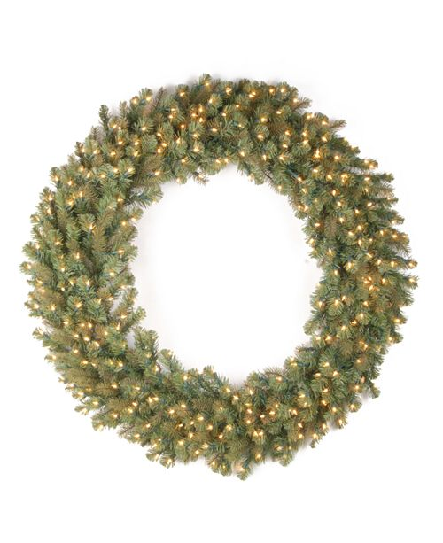 "National Tree Company 48"" ""Feel-Real"" Downswept Douglas Fir Wreath with 200 Warm White LED Lights"