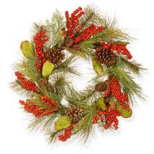 "National Tree Company 24"" Bead, Pine & Berry Wreath"