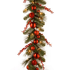 "National Tree 9'x12"" Decorative Collection Christmas Red Mixed Garland with 50 Soft White Battery Operated LEDs with Timer"