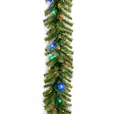 """National Tree Company 9' x 10"""" Norwood Fir Garland with 50 Concave Multi 4-Color LED Lights"""