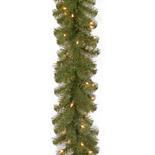 "National Tree Company 9' x 10"" North Valley Spruce Garland with 50 Clear Lights"