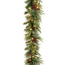 "National Tree 9'x10"" ""Feel Real"" Colonial Garland with Berries, Cones and 50 Clear Lights"