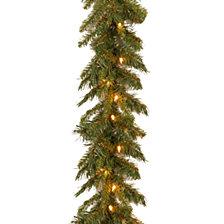 "National Tree Company 9' x 10"" Tiffany Fir Garland with 50 clear lights"