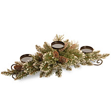 "National Tree Company 30"" Glittery Bristle Pine Centerpiece w/3 Candle Holders & 6 White Tipped Cones"