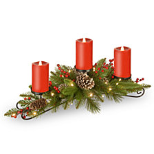 """National Tree Company 30"""" Feel Real® Bristle Berry Centerpiece with 3 electronic candles, battery operated lights, berries and cones"""