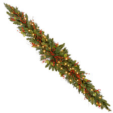 National Tree Company 6' Classical Collection Mantel Swag with Red Berries, Cones, Holly Leaves and 50 Clear Lights