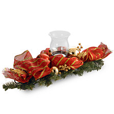 "National Tree Company 30"" Decorative Collection Red Ribbon with Gold Stripes 1 Candle Holder w/Glass Cup"