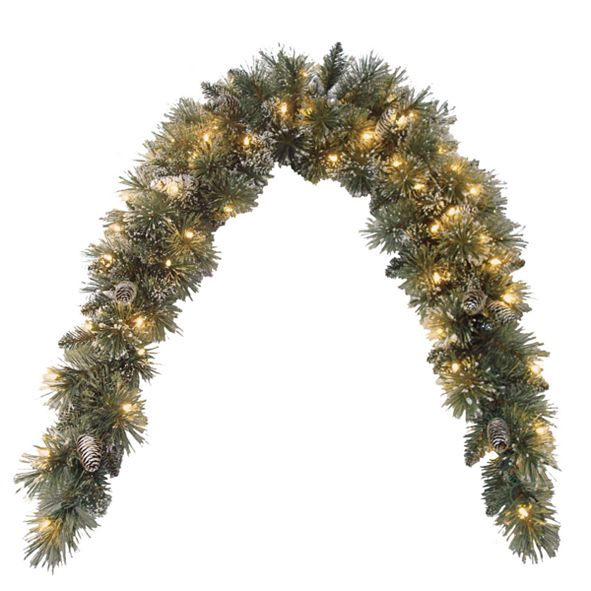 National Tree Company 6' Glittery Bristle Pine Mantle Swag with Pine Cones and 50 Clear Lights